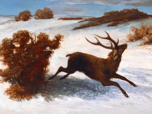 Courbet Deer Running In The Snow