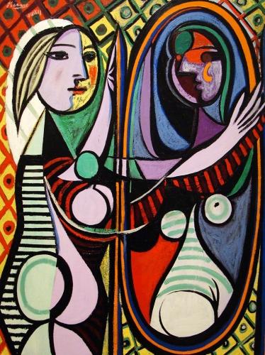 Picasso Girl Befprme A Mirror Digi-Art